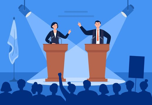 Man and woman candidates are discussing on stage. Debates concept. Candidates speech in front of the crowd people. Flat vector illustration.