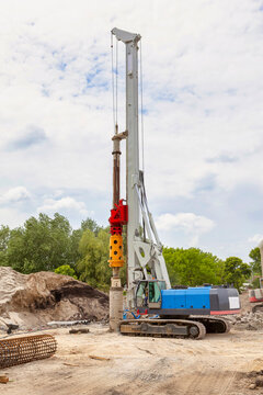 Hydraulic drilling machine on working site