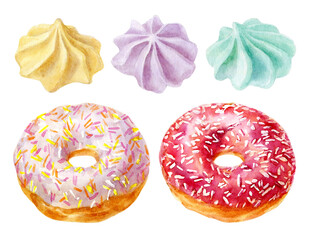 Watercolor illustrations of colorful donuts with glaze and sprinkles and meringue isolated on white.