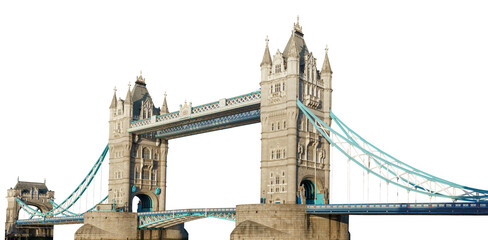 Tower Bridge (London, UK) isolated on white background