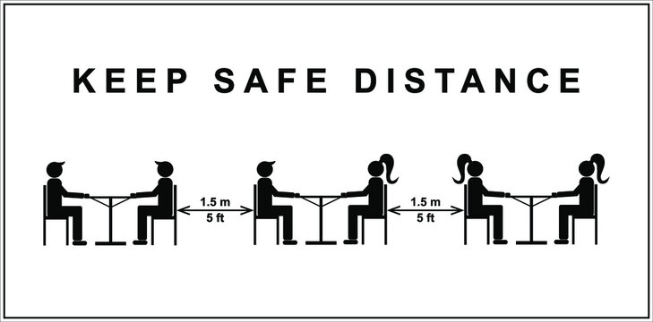 Keep safe distance vector icon. Simpie blacksilhouettes of people at tables with an arrow between. Epidemic protection.