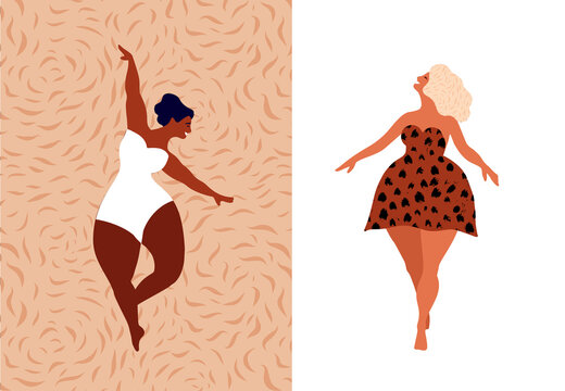 Happy women. Body positive vertical cards. Love yourself, your body concept. Female freedom, girl power or international women's day vector illustration.