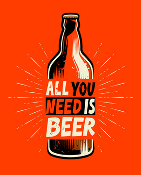 Beer bottle retro. Poster for pub or restaurant vector illustration