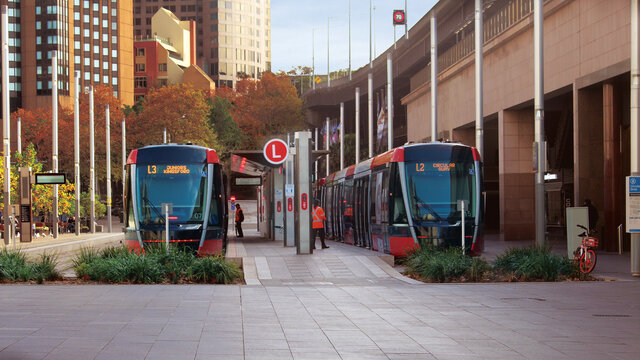 Streetscape outside Circular quay light rail station. Pictured are two light rail trains.