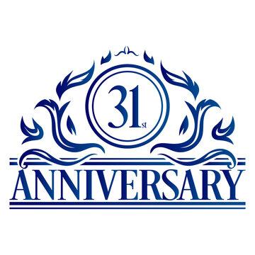 Luxury 31st anniversary Logo illustration vector