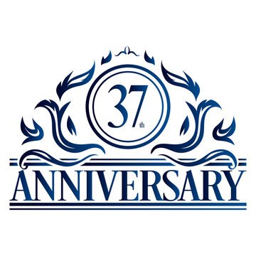 Luxury 37th anniversary Logo illustration vector