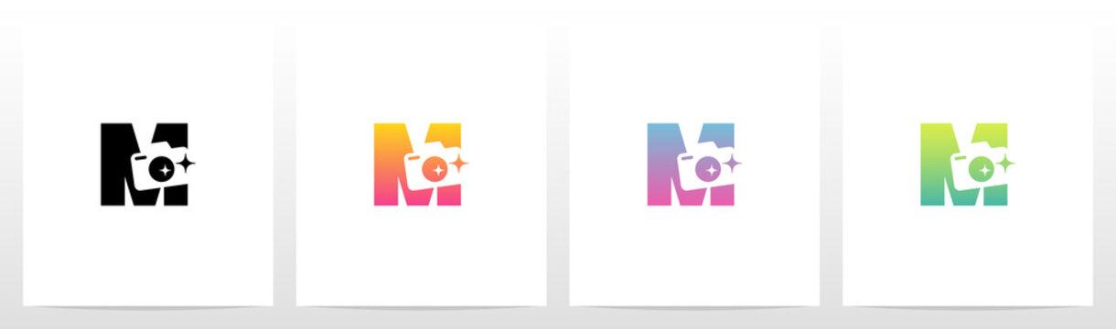Photography Camera On Letter logo Design M