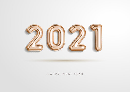 Realistic 2021 gold rose foil balloon flying in the air isolated on white background. Concept design for christmas and new year decorate element or banner, poster, greeting card in illustration