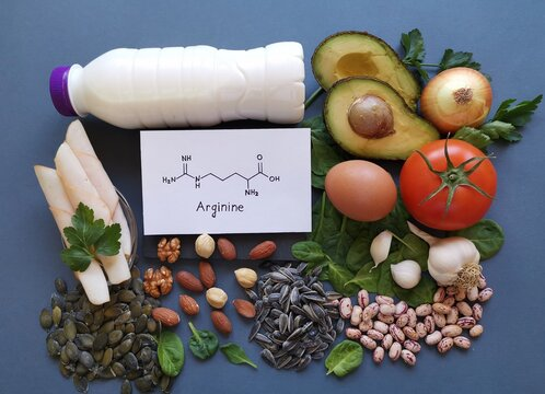 Foods rich in arginine with structural chemical formula of arginine. Arginine high foods: milk, avocado, turkey breast, nuts, beans, pumpkin seed, spinach, tomato, egg. Food for training and exercise