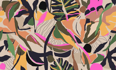 Modern exotic jungle plants illustration pattern. Creative collage contemporary floral seamless pattern. Fashionable template for design. - fototapety na wymiar