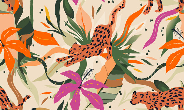 Modern exotic jungle plants and leopards illustration pattern. Creative collage contemporary floral seamless pattern. Fashionable template for design.