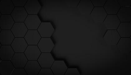 Geometric hexagon concept black background 3D illustration