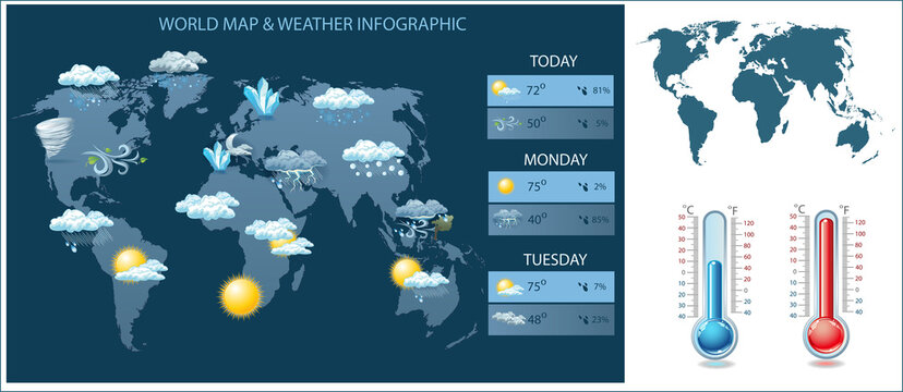 Vector world map and weather infographic. Icons and worldmap silhouette