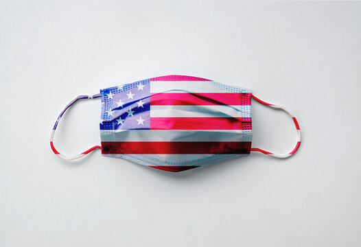 Protective face mask with the American flag design, mask only, view from above