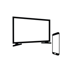 Smart Tv Flat Vector Icon. TV with remote control icon. eps 10