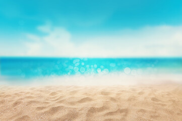 Wall Mural - Sand with blurred tropical sea sky beach and bokeh background, Summer vacation and travel concept  with copy space for text