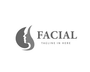 circle facial skincare logo face design inspiration