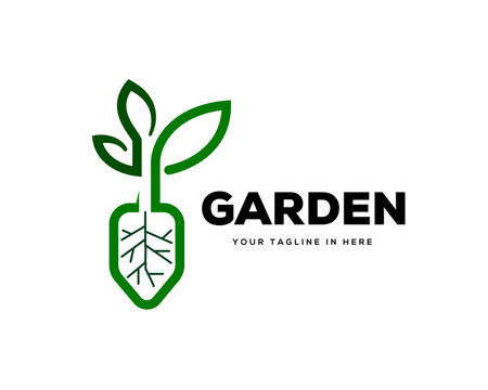 Abstract garden leaf plant and scope logo design inspiration