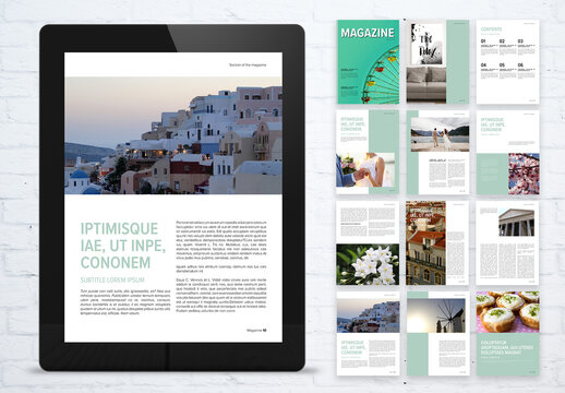 Fresh Digital Magazine Layout with Mint Accents