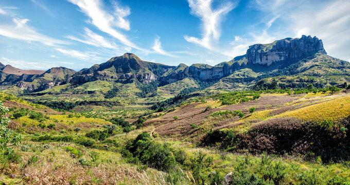 Drakensburg Mountain Landscape with Blue Overcast Sky
