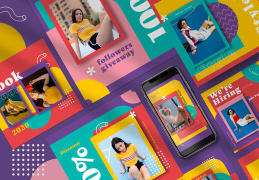 90's Fashion Social Media Layout Pack