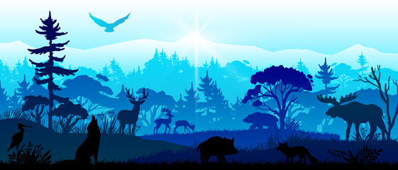 Save nature banner with forest animals, pines, trees, mountains, birds. Horizontal panoramic woodland landscape with mammals' silhouettes. Wildlife vector illustration in blue colors.