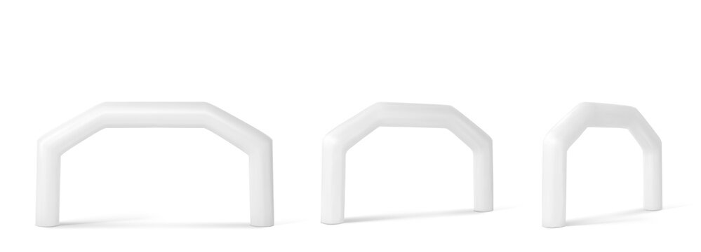 White inflatable arch for sport events, race, marathon, run or triathlon. Vector realistic set of blank balloon tubes for start and finish display or sponsorship advertising front and angle view