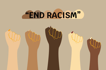 Racism banner. End racism concept with fisted hands. Racial discrimination problem.