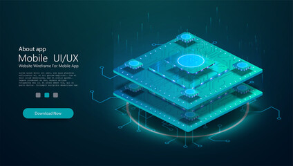 Futuristic microchip processor with lights on the green background. Quantum computer,large data processing, database concept. CPU isometric banner. Central Computer Processors CPU concept.Digital chip