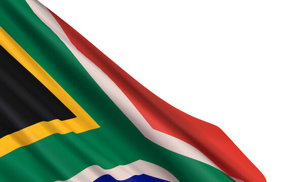 The realistic flag of South Africa isolated on a white background. Vector element for Heritage Day, Nelson Mandela Day.