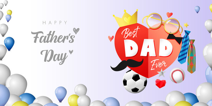 Happy father's day colorful postcard. Happy Fathers Day creative congrats with calligraphic elements. Dad is my king poster. Best dad ever. Brush calligraphy. Isolated abstract graphic design template