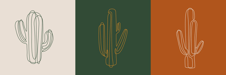 Line art cactus illustrations. Eps10 vector.