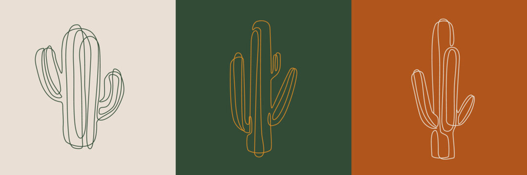 Line art cactus illustrations. Eps10 vector.