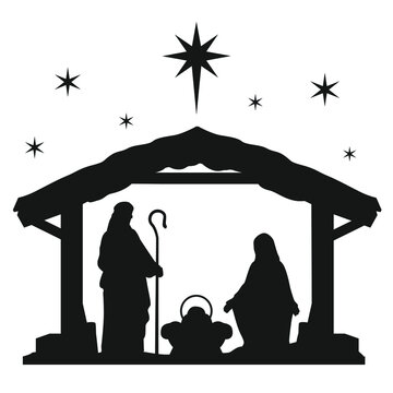 Nativity Scene Silhouette. Holiday Holly Night. Christmas Cut File Scrapbook. Decorative Card. Clip Art Vector.