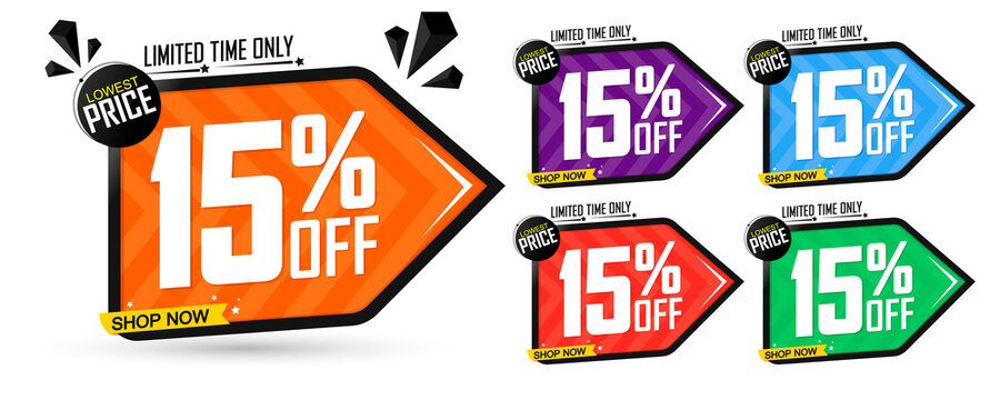 Set Sale 15% off banners discount tags design template, promo app icons, vector illustration