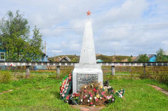 Varzuga, Kola Peninsula, Russia, June, 05, 2015. Nobody, obelisk in memory of villagers who died during the Great Patriotic war