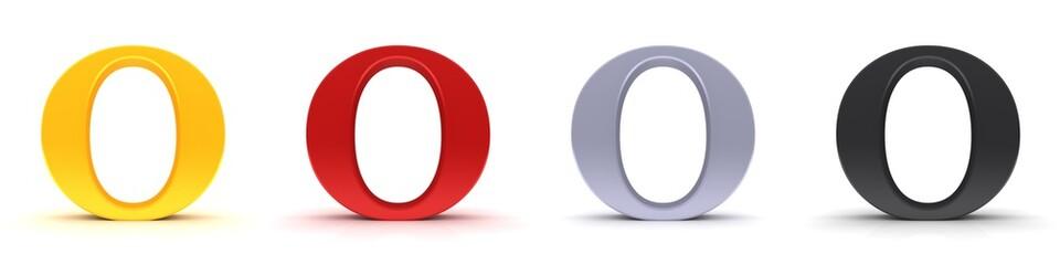 O letter 3d sign type capital alphabet gold red silver black Fotomurales