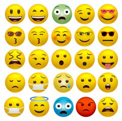 Set of funny classic emojis isolated on a white background