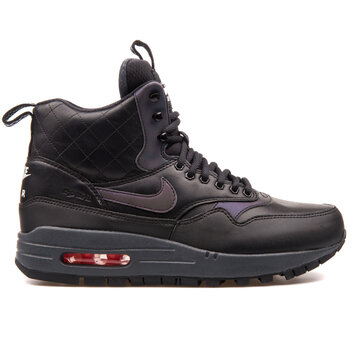 VIENNA, AUSTRIA - AUGUST 25, 2017: Nike Air Max 1 Mid Sneakerboot Reflect black sneaker on white background.