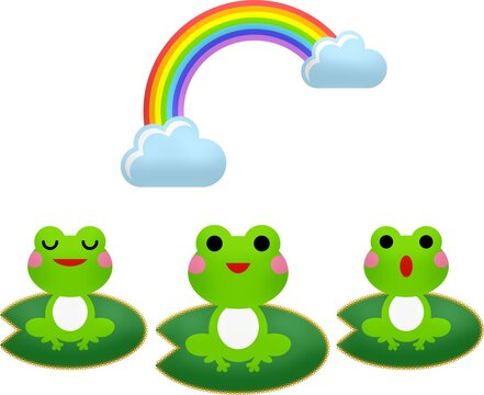 Rainbow and three green frogs on a white background - perfect for a background or wallpaper