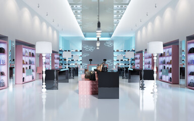 Interior design of a store of branded bags.