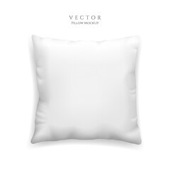 Clean white pillow mockup isolated on white background, vector illustration in realistic style. Square cushion for relaxation and sleep template.