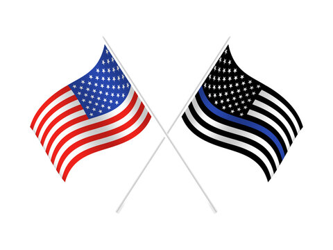 Vector United States flag with blue line to honor police and law. Background, officer.