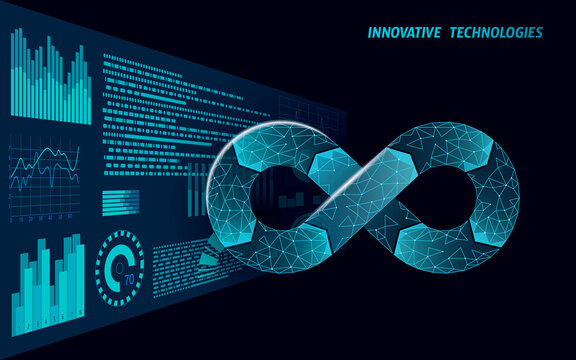 Devops software development operations infinity symbol. Programmer administration HUd display system. Coding building testing release monitoring. Online freelance vector illustration