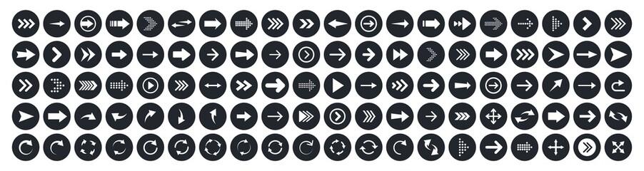 Wall Mural - Arrows big black set 100 icons. Arrow icon. Arrow vector collection. Arrow. Cursor. Modern simple arrows. Vector illustration.