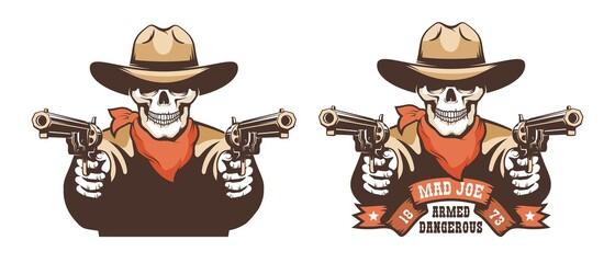 Obraz Skull cowboy western bandit with guns. Skeleton gunslinger - retro wild west vector illustration. - fototapety do salonu