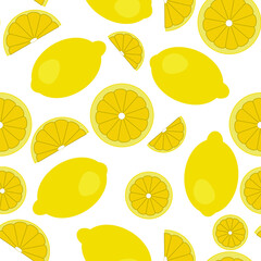 Vector flat illustration. Seamless pattern of cut in half, sliced on pieces fresh lemons isolated on white background. Vibrant juicy ripe citrus fruit collection. Design for textile, fabric, wallpaper