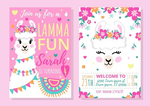 Llama party invitation template with colourful design vector illustration. Bright decorations for event flat style. Happy birthday celebration concept. Isolated on pink background