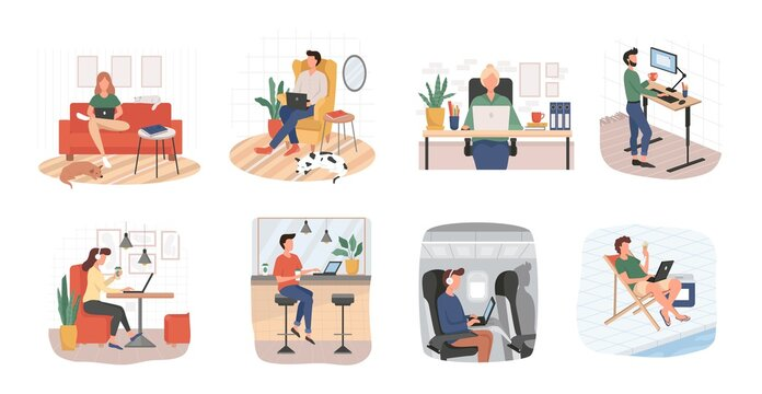 Set of people busy with remote working at home vector illustration. Job from any place flat style. Work on sofa airplane and beach. Freelancer concept. Isolated on white background