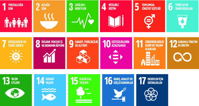 Icon set  The Global Goals. Corporate social responsibility. Sustainable Development Goals